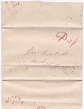 # 1841 PHILADELPHIA USA E/L POSTED HALIFAX UK RED PAID 1d QUAKER STYLE J SHARP