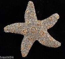 Signed Swan Swarovski Starfish Clear Set Crystal Brooch Pin