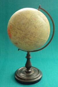 Superb Vintage Wood Stand Philips British Empire Terrestrial Globe Atlas