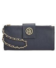 Tommy Hilfiger Womens Leather Clutch Wristlet Wallet Black red Navy NWT