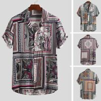 Mens Vintage Ethnic Printed  Turn Down Collar Short Sleeve Loose  Casual Shirts