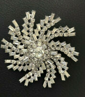 WEISS Clear Rhinestone Brooch Pin Vintage 50s Excellent Rhodium Back Signed