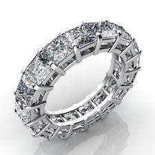 Certified 7.25CT Princess Cut Diamond Full Eternity Bridal Band & 14K White Gold