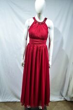 Occasion halter maxi dress in red with pleated waist with jewellery details