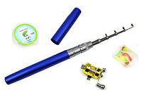 Set of 4 Pcs Aluminum Pen Fishing Rod Kids Mini Fishing Rod Pole Reel 3.3ft
