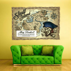 Full Color Wall Decal Vinyl Sticker Kids Pirates Ship Old Antique Map (Col545)