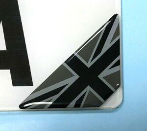Union Jack Corner Number Plate Stickers - Black & 2 Tone Grey - GLOSS DOMED GEL