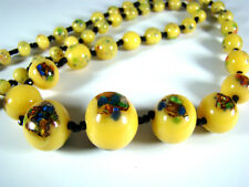Millefiori Glas Silberfolie Collier Kette Opaque Murano Glass Necklace 1920-1930
