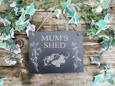 Mum's Shed Natural Slate Plaque Butterfly and Flowers Design. 13x17cm