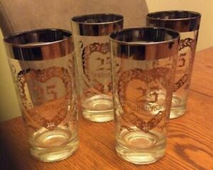 FOUR VINTAGE SILVER ACCENTED 25TH WEDDING ANNIVERSARY GLASSES