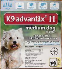 K9 Advantix II Flea Medicine Medium Size Dog 4 Month Supply Pack K-9 11-20 Teal