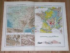 1907 ORIGINAL ANTIQUE GEOLOGICAL AND PHYSICAL MAP OF FRANCE
