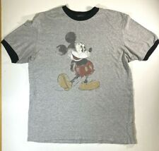 Disneyland Resort Mickey Mouse Distressed Ringer T-Shirt MEDIUM Gray Graphic