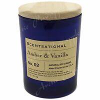 Scentsational Natural Soy Medium 11oz Candle Wooden Lid  No. 02 Amber & Vanilla