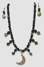 Starlight Moon Beads' Pendant Necklace Set, Onyx & jet AB glass beads. 22.5""