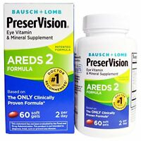 Bausch + Lomb PreserVision Eye Vitamin Supplement AREDS 2 Formula 60 Softgels