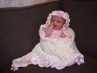Baby crochet pattern, Christening shawl, afghan,. DK. Blanket secret hood. girl.
