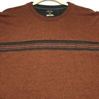 Arrow Men's Long Sleeves Pullover Sweater Shirt XL Orange Gray Stripes Casual