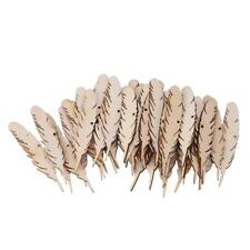50pcs Feather Wooden Chips DIY Craft Accessories Clothing Hanging Decor W/ Rope