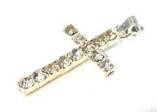 Bijou alliage argenté pendentif petite croix en strass blanc cross
