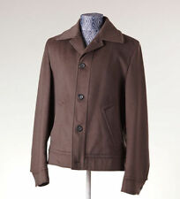 MALO Olive Brown Buttoned Wool-Cashmere Coat Jacket M Italy Loro Piana Bomber
