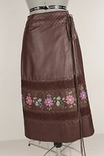 Leather Rap Around Skirt by The Ballroom Brown W Stitching & Flowers S 1