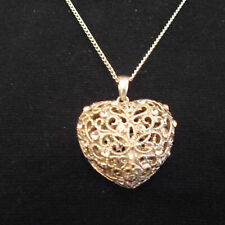Heart With Small White Crystals New Large Filigree Style Hollow