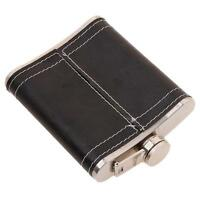 Stainless PU Leather Hip Pocket Flask Screw Down Cap Wrap Alcohol Whiske 7oz Q