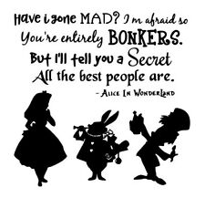 Alice In Wonderland Decal vinyl sticker Ikea Ribba Box Frame Mad Hatter DIY Gift