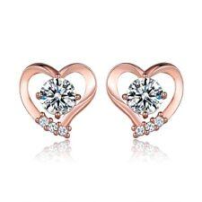 Womens Eternity Love Heart Swarovski Crystal 18K Rose Gold Filled Stud Earring