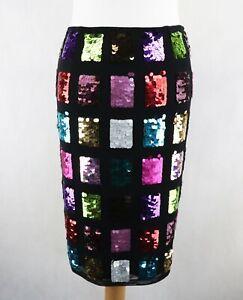 Womens KAREN MILLEN Sequin Midi Knee Length Skirt Size UK 10 Multicolour Party