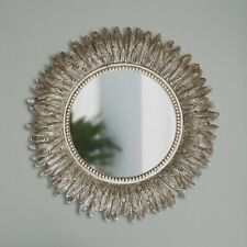 Large Wall Mountable Round Feather Mirror Antique Silver Living Room Bedroom