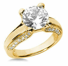 2.61 carat, 2.11 ct center Round Diamond Solitaire 14k Yellow Gold Ring H Vs2