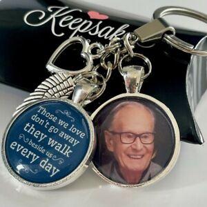 Personalised Photo Keyring Memorial Bereavement Angel Wings Love Memory Gift