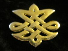 Lovely Vintage Celtic Knot Style Brooch Pin Gold Tone