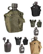 US Feldflasche Kunststoff Nylonbezug Trinkflasche Outdoor Wandern Militär