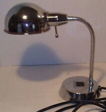 Gooseneck Chrome Desk Lamp Light Flexible w/ Plug In Receptacals Built Into Base