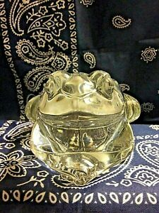 Vintage Indiana Clear Glass Frog Candle Holder