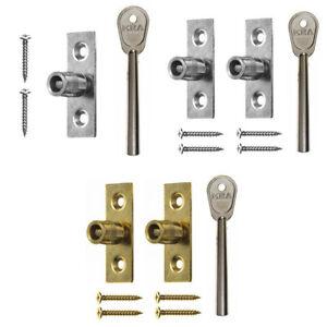 ERA 822 Sash Stops Lock for Wooden Sliding Sash Windows Brass Satin with Key
