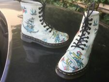 Dr Martens 1460 white Louie tattoo pascal leather boots UK 4 EU 37