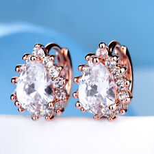 Lady Sparkly White Swarovski Crystal Engagement Rose Gold Filled Huggie Earrings