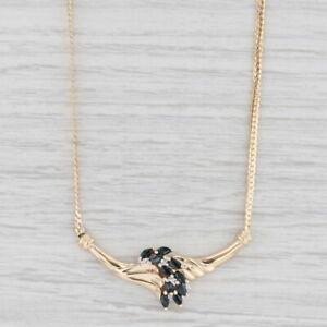"1.28ctw Blue Sapphire Diamond V Pendant Necklace 10k Yellow Gold 17"" Herringbone"