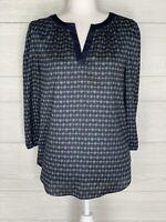Ann Taylor Blue Green Print V-Neck Puff Sleeve Blouse Size Medium