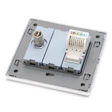 2 Port Socket Wall Plate CAT5E RJ45 Network LAN & TV Outlet Connector Panel F