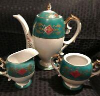 Vintage Craftsman Japan China Teal Green w/ Gold Trim Teapot w/ Creamer & Sugar