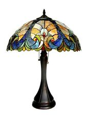 """Tiffany Style Victorian 2 Lite Table Lamp Amber Blue Green Stained Glass 21"""" H"""