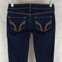 Hollister Cal embellished womens size 0, 24 in. blue dark wash skinny zip jeans