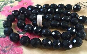 Vintage 10mm Faceted Jet Black Glass Beads Austria 16