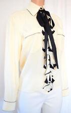 Chanel Beige/Black Silk Front Ruffle Collar Long Sleeves Blouse Size 38 1801KO