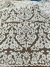 """OFF-WHITE MESH CORDED EMBROIDERY BEIDAL LACE FABRIC 50"""" WiIDE 1 YARD"""